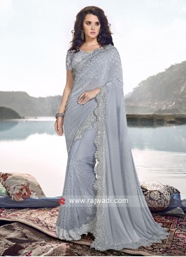 Designer Party Wear Net And Lycra Saree