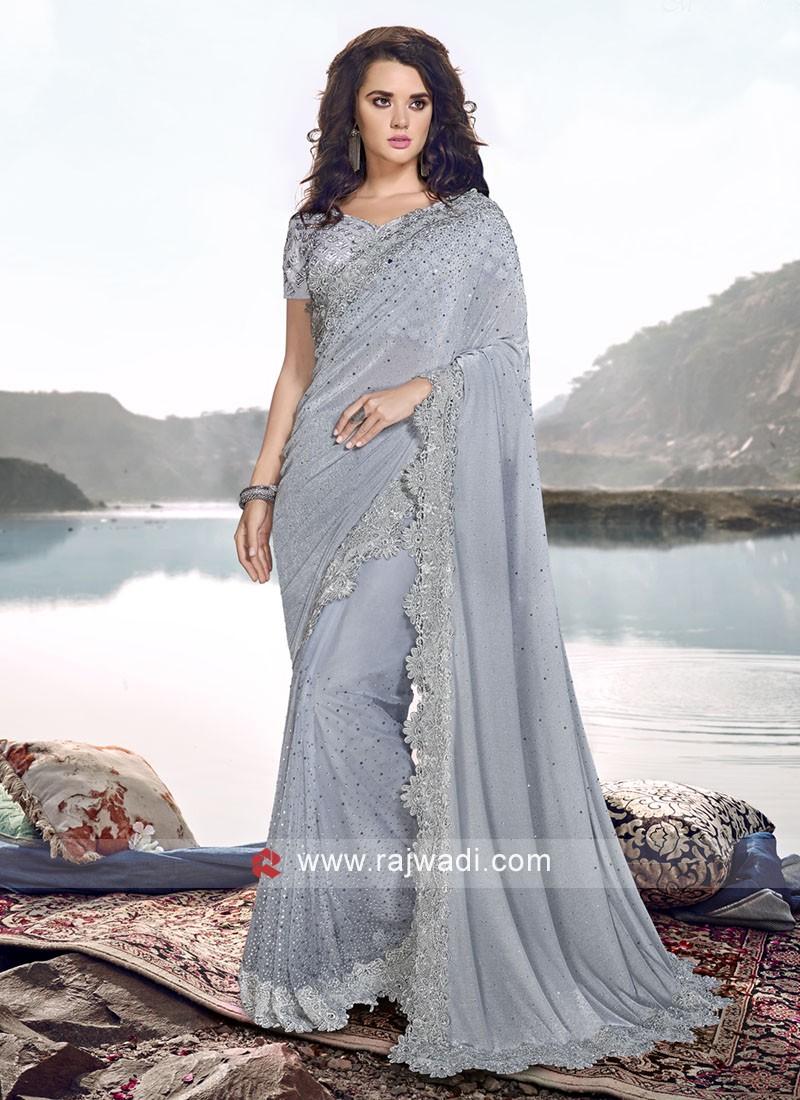 Designer Party Wear Net And Lycra Saree
