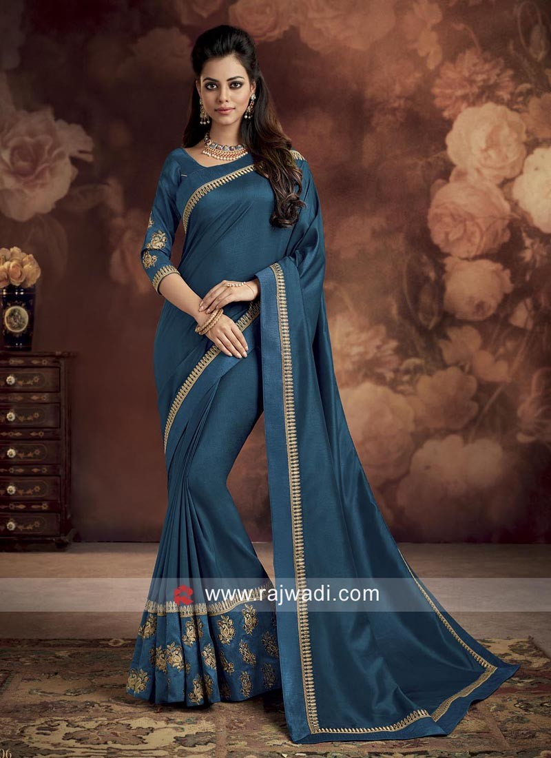 Designer Party Wear Saree in Teal