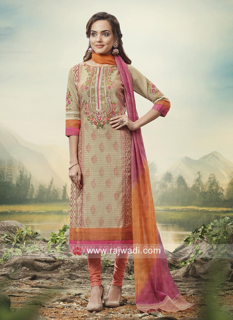 Designer Party Wear Suit with Shaded Dupatta