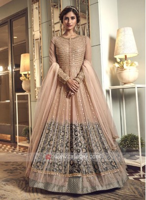 Designer peach color net salwar suit