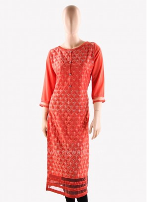 Designer Peach Kurti with Fancy Buttons