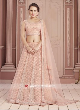 Designer Peach Mirror Work Choli Suit