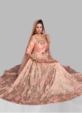 Designer Peach Puff Cold Shoulder Anarkali Dress