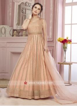 Designer Peach Stitched Anarkali Suit