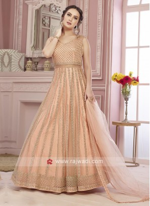 Designer Peach Stitched Anarkali Suit