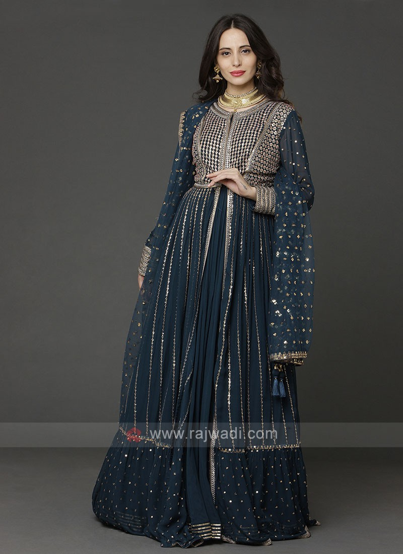 Designer Peacock Blue Color Gown With Shrug