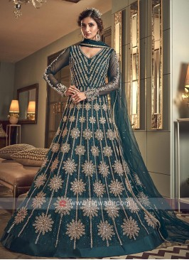 Designer peacock blue color salwar suit