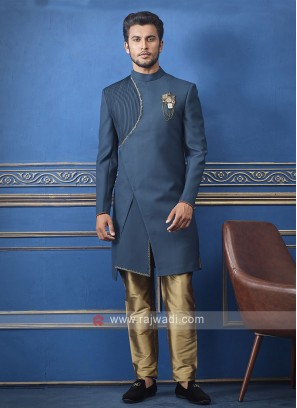 Designer peacock blue Colour Indo-western