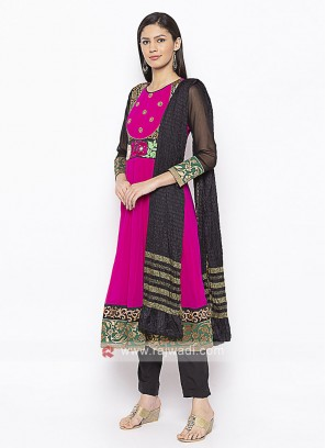 Designer Pink And Black Salwar Suit