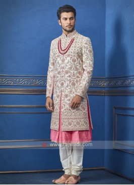 Designer pink and cream sherwani