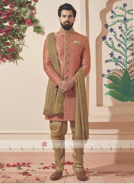 Designer Pink And Golden Colour Indo-western