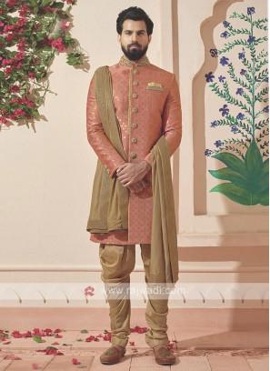 Designer Pink And Golden Colour Indo-western