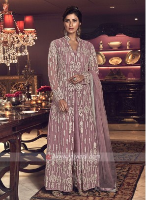 Designer pink color net salwar suit