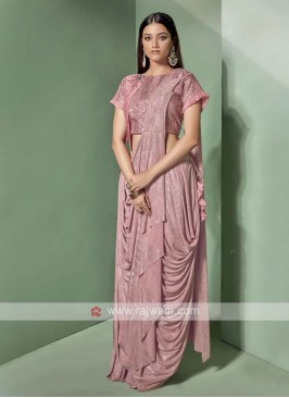 Designer pink colour saree