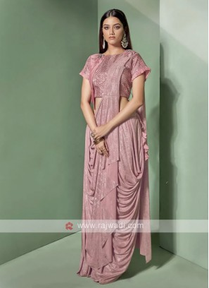 Designer pink colour saree