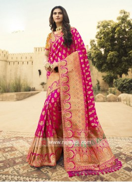 Designer Pink Saree with Blouse