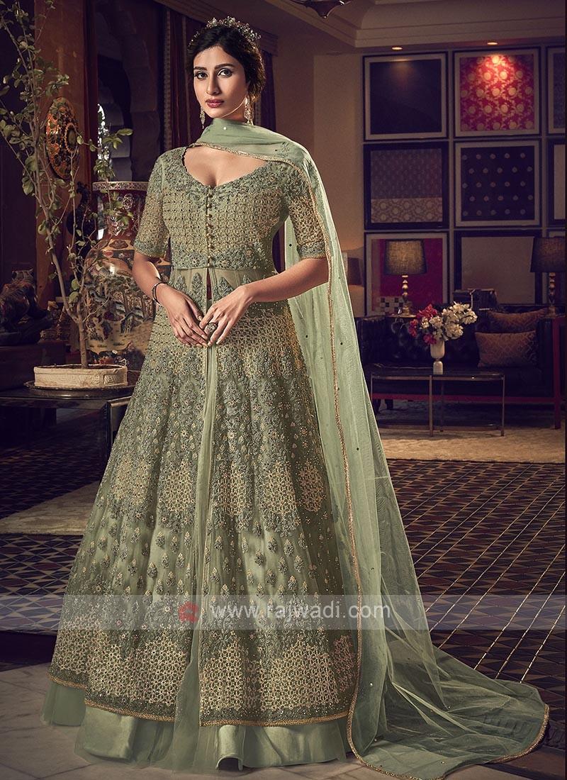 Designer pista green color salwar suit