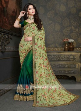 Designer Pista & Green shaded Saree