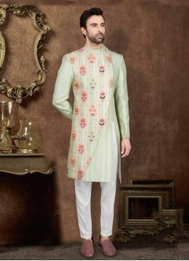 Designer  Pista Green Color  Indo-Western
