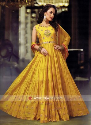 Designer Pleated Anarkali in Yellow