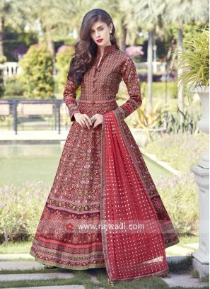 Designer Printed Anarkali with Buttons