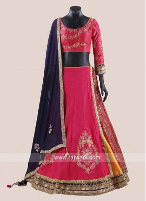 Designer Raw Silk Choli Suit