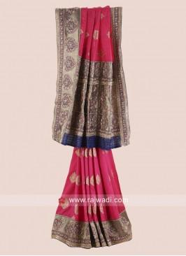 Designer Raw Silk Embroidered Saree