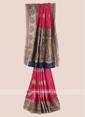 Designer Raw Silk Embroidered Saree