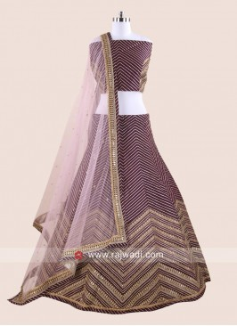 Designer Raw Silk Stripes Lehenga Choli