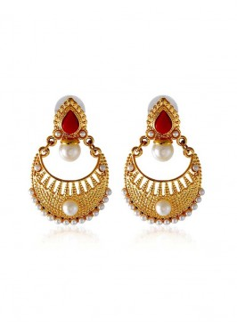 Designer Red and Golden Earring