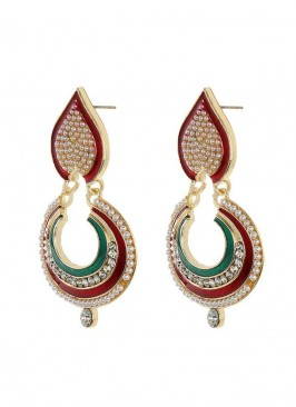 Designer Red and Green ChandBali Earrings