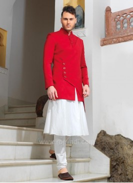 Designer Red Koti With Kurta Pajama