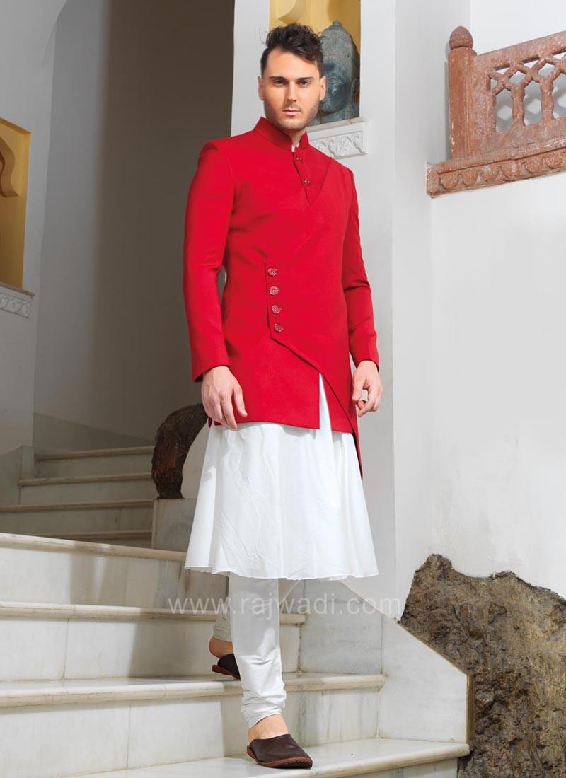 Designer Red Koti With Kurta Pajama