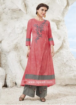 Designer Resham Work Palazzo Suit