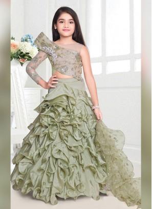 Designer Ruffle Style Lehenga Choli For Girls
