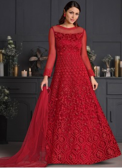 Designer Salwar Suit Embroidered Net in Red