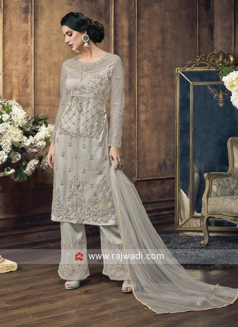 Designer Salwar Suit in Grey