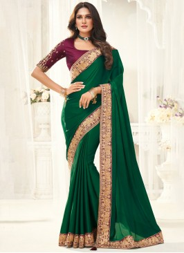 Designer Saree Border Silk in Green