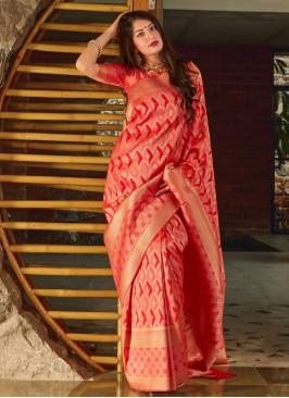 Designer Saree Weaving Banarasi Silk in Red