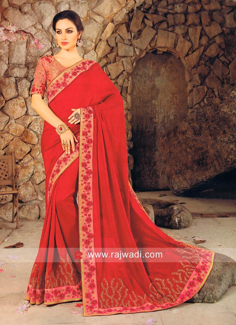 Designer Saree with Contrast Border