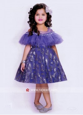Designer Satin Net Short Dress for Girls