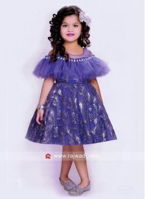 Designer Satin Net Short Dress for Girls