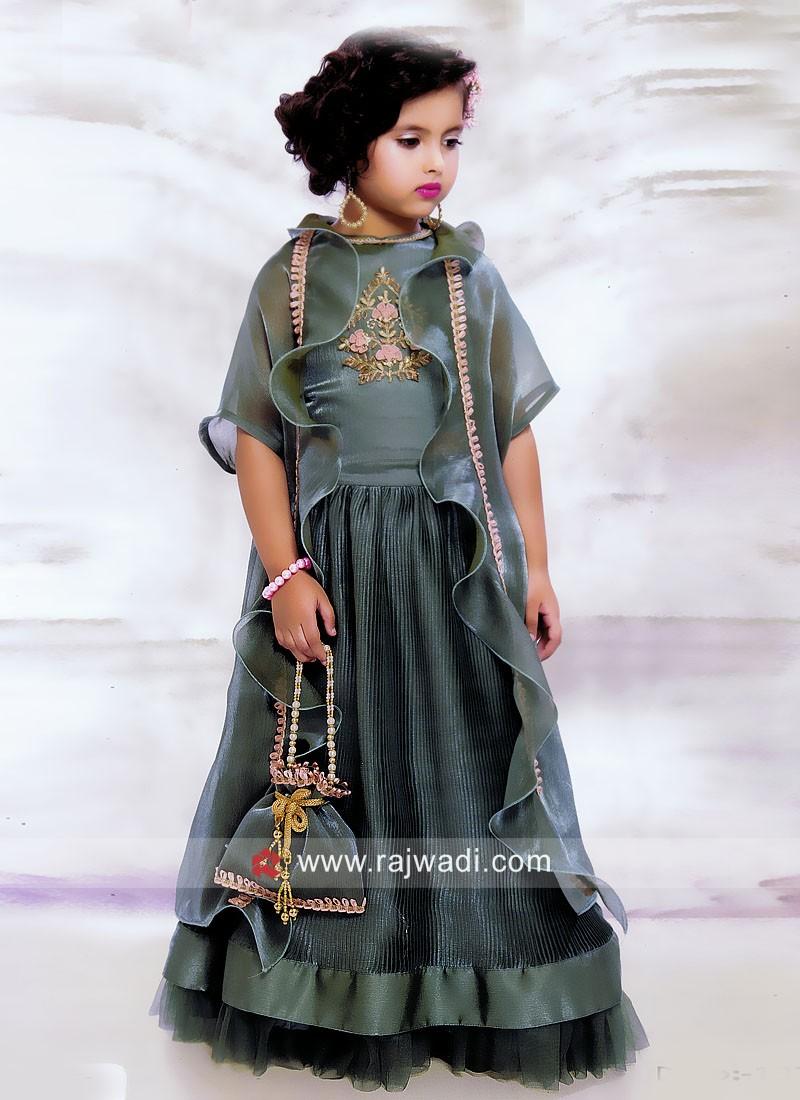 Designer Satin Silk Lehenga Choli for Girls