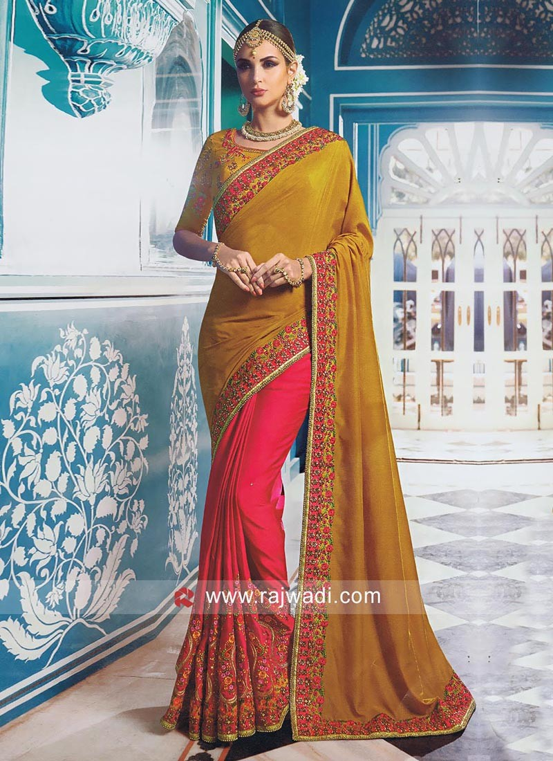 Designer Satin Silk Wedding Sari