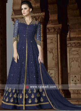 Designer Semi Sticthed Suit in Navy Blue
