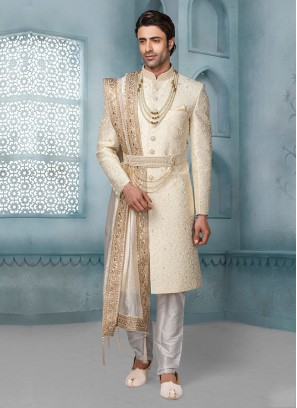 Designer Sherwani In Cream Color