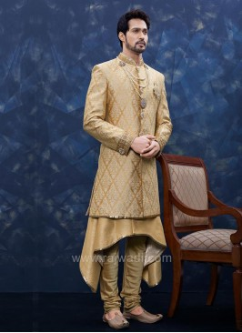 Designer Sherwani In Golden Color