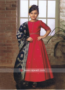 Designer Silk Anarkali Suit for Kids
