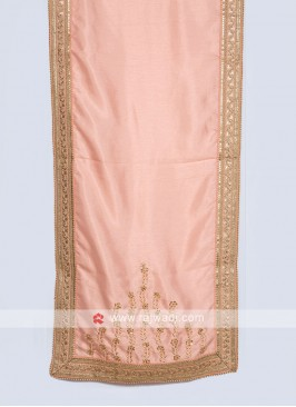 Designer Silk Dupatta In Peach Color